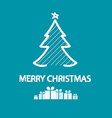 Merry Christmas Xmas Card White Tree and Gift vector image