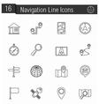 Navigation Line Icons vector image