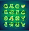 st patrick neon icons vector image