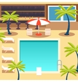 Sunny Pool Hotel Summer Vacation Tourism Journey vector image