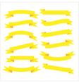 Set of beautiful festive yellow ribbons vector image