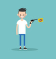 young character holding a toy gun with a bang vector image vector image