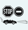 Car and two road signs vector image vector image