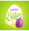 Easter poster with realistic eggs on colorful vector image