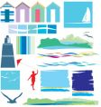 Beach and sea elements vector image