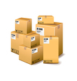 Cardboard boxes isolated on white vector image