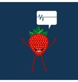 healthy fruit strawberry heart rate icon vector image