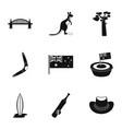 landmarks of australia icon set simple style vector image