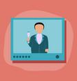 paper sticker on stylish background president tv vector image