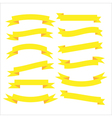 Set of beautiful festive yellow ribbons vector image