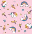 unicorn rainbow and magic wand pastel colors vector image