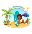 A girl at the beach with her blue surfing board vector image vector image