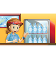 A girl near a fridge with bottles of soda vector image
