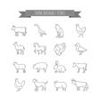 farm animals thin line icons set vector image