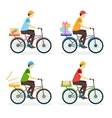 Delivery Boy on the Bike Set vector image
