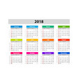 desk calendar for 2018 year design print template vector image