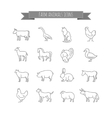 farm animals thin line icons set vector image
