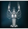 Silver crayfish zodiac Cancer sign vector image