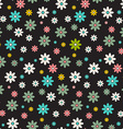 Seamless Pattern Dark Background - Retro Flowers vector image vector image