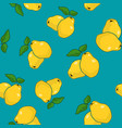 seamless pattern quince on azure background vector image