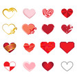 set of art hearts vector image