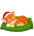 Christmas kitten sleeping vector