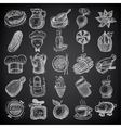 25 sketch doodle icons food on black background vector image