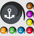 anchor Icon sign Symbols on eight colored buttons vector image