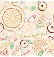 Apple Pie Line Art Pattern vector image