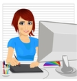 designer working with digital graphic tablet vector image