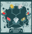 finance color isometric concept icons vector image