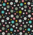 Seamless Pattern Dark Background - Retro Flowers vector image