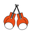 color silhouette image set orange boxing gloves vector image