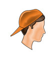 drawing profile head young boy orange cap vector image