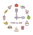Weight loss diet concept with clock and vector image