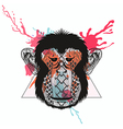 Zentangle stylized Monkey face in triangle frame vector image vector image