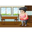 A sad fat woman vector image