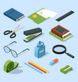books paper documents in folders and other base vector image