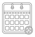 calendar with plus icon outline style vector image