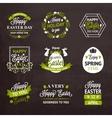Easter labels and badges on chalkboard background vector image
