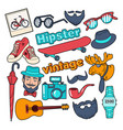 hipster style vintage doodle with beard vector image