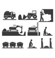onstruction earthworks icons mining and quarrying vector image