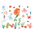 Underwater life collection vector image