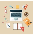 Workplace Top View Concept Flat Design vector image