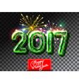 Happy New 2017 Year firework invitation vector image