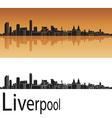 Liverpool skyline in orange background vector image vector image
