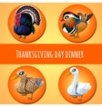 Thanksgiving day dinner four icons vector image