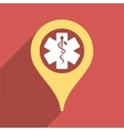 Clinic Pointer Flat Square Icon with Long Shadow vector image