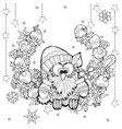 Christmas owl with gift box zentangle doodle vector image