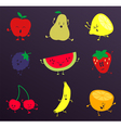 Happy Fruits Characters Set vector image